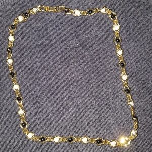 Vintage gold and pearl choker style necklace